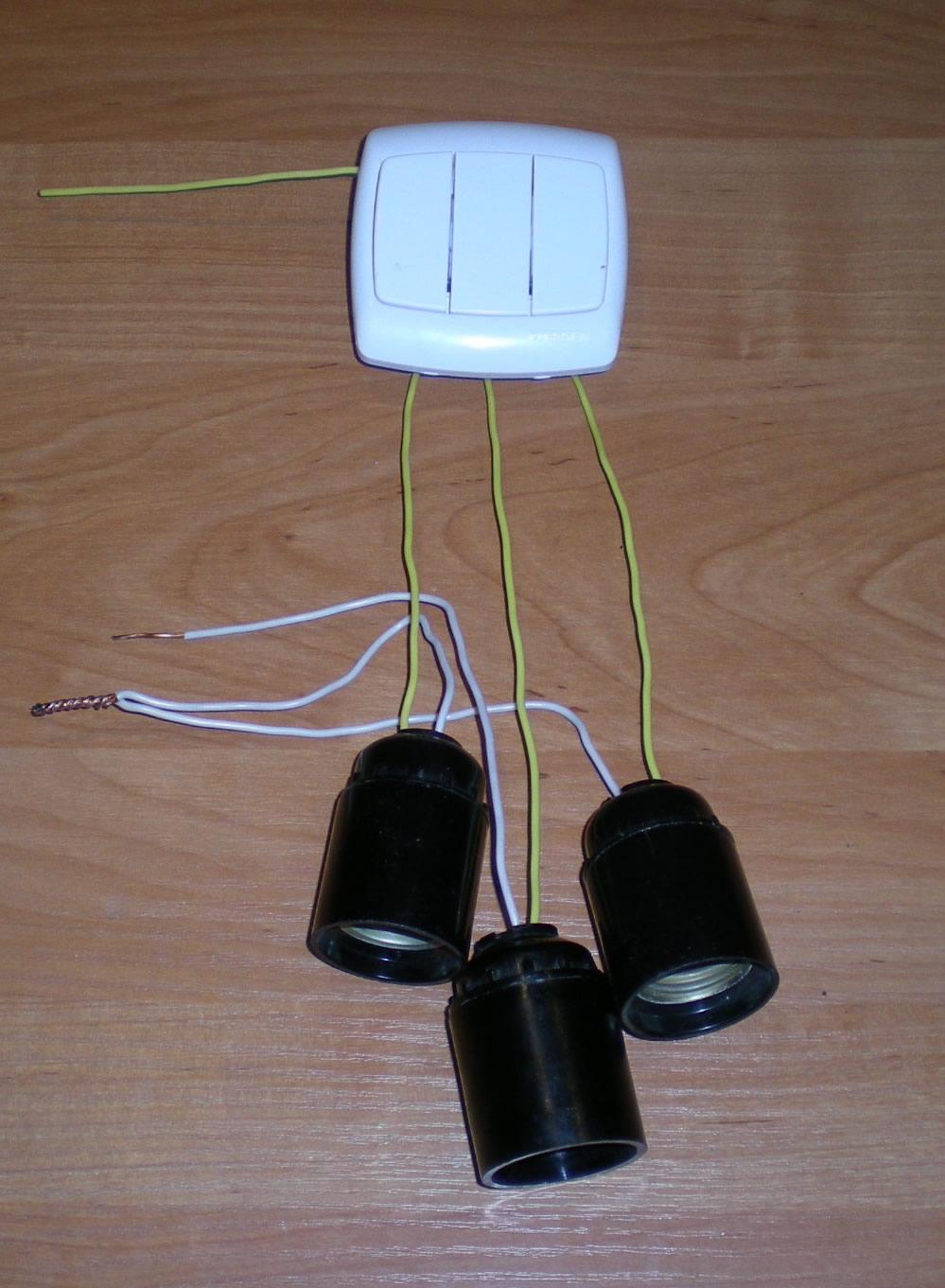 схема подключения 2 ламп и 2 розеток